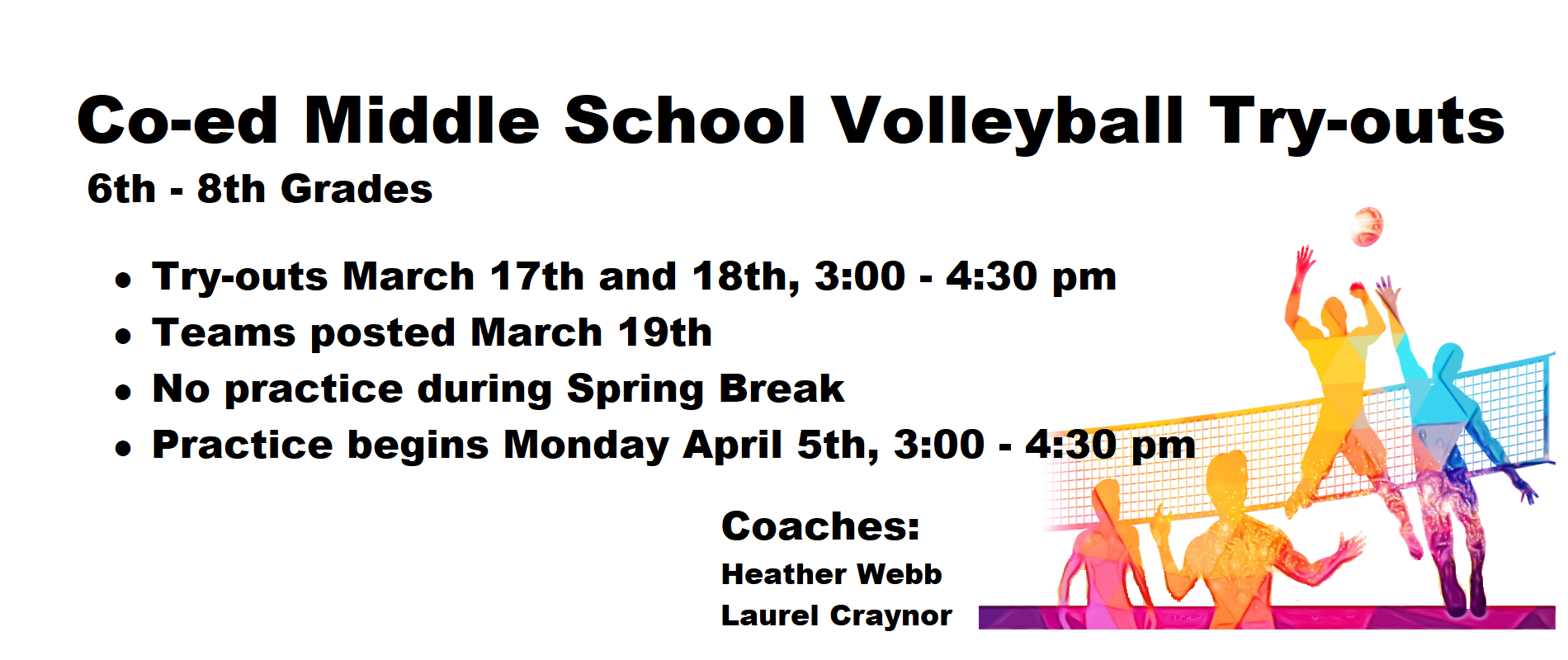 Co-Ed Middle School Volleyball Try-outs